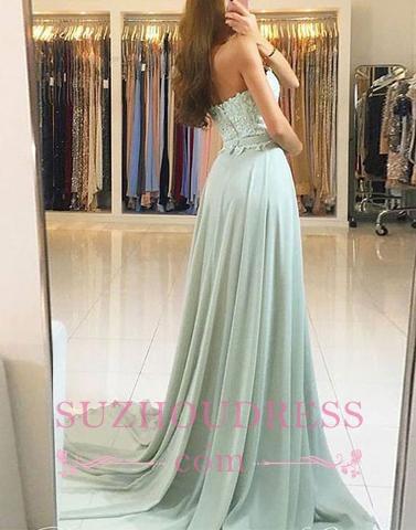 Glamorous A-line Appliques Evening Dresses  | Chiffon Sweetheart Prom Dress