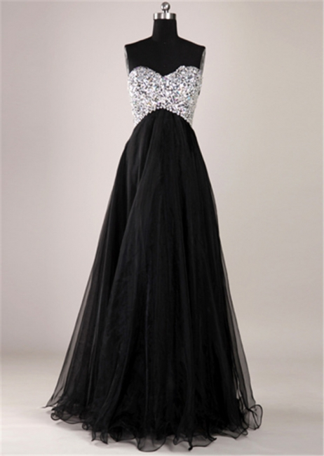 Elegant Sweetheart Crystal Long Prom Dress with Beadings Floor Length Lace-Up Plus Size Dresses