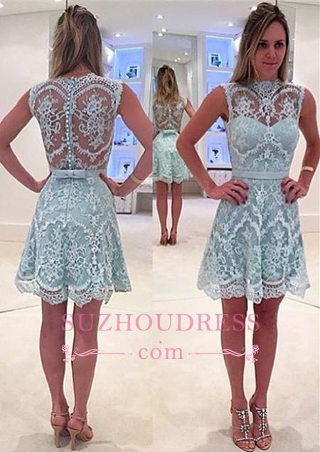 High Neck Sleeveless Mini Lace Homecoming Dresses  Unique Formal Dress