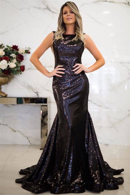 Jewel Black Sequins Mermaid Prom Dress SexySleeveless Evening Dresses with Open Back