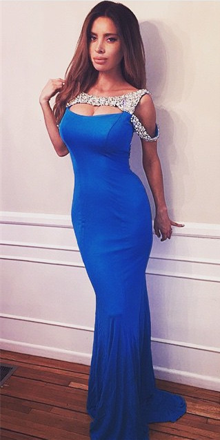 Royal Blue Sexy Mermaid Long Prom Dress Crystal Open Back Vestidos Festa Azul Evening Gown