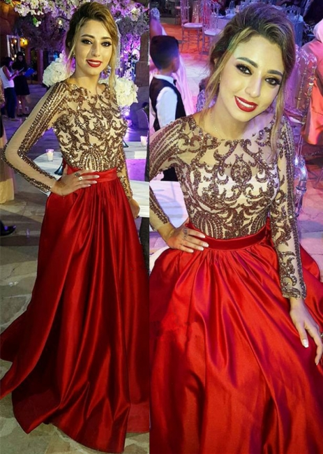 Sexy Backless Long Sleeve Prom Dress  Red Long Champagne Sequins Evening Gown with Sash FB0209