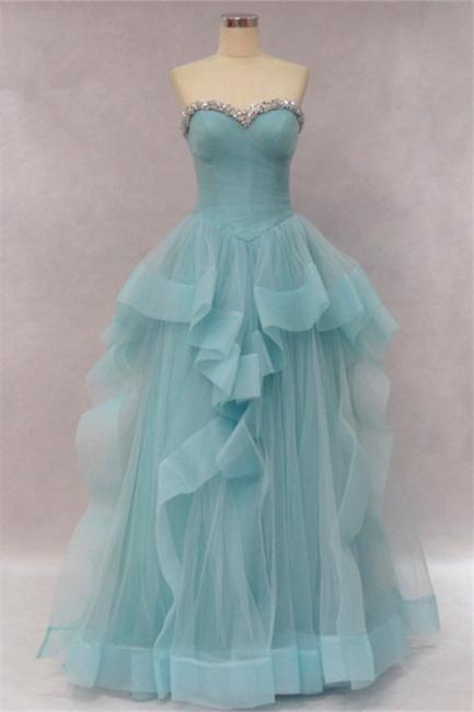 Tiered Pleats Sweetheart Prom Dresses Rhinestone Floor Length Sleeveless  Evening Dresses