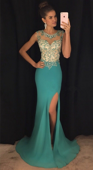 Green Mermaid Sexy Slit Prom Dress  Sleeveless Beads Sequins Popular Evening Gown with Crystals
