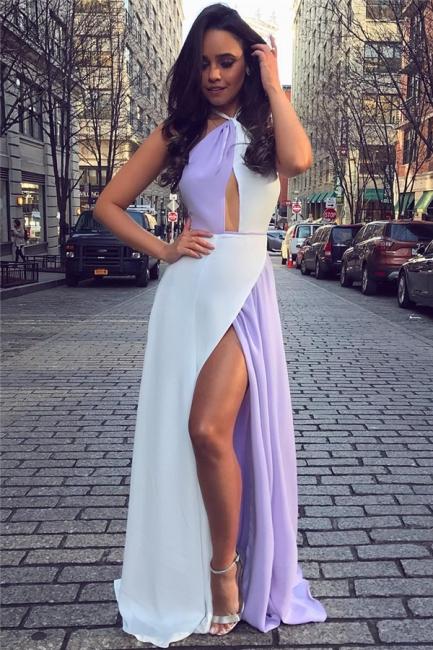 White and Lavender Sexy Split Evening Dresses  | Halter Sleeveless Chiffon  Formal Dress