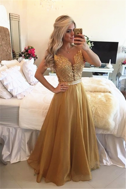 New Arrival Crystal A-Line  Prom Dress  Sleeveless Lace Evening Dresses