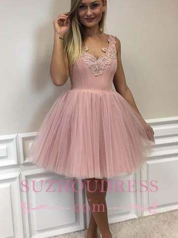 Cute Pink Lace Appliques Cocktail Dress Tulle A-line Short Homecoming Dresses