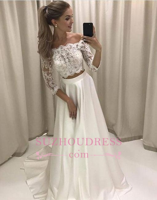 Off-the-shoulder Two-pieces White Lace Sweep-train Evening Dress