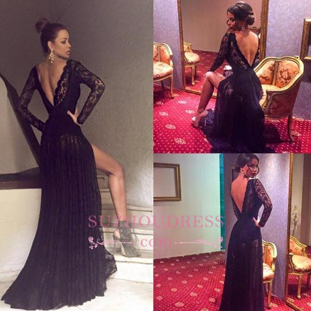 Black Long Sleeve Evening Gowns Sexy Front Slit Sexy Lace  Prom Dress