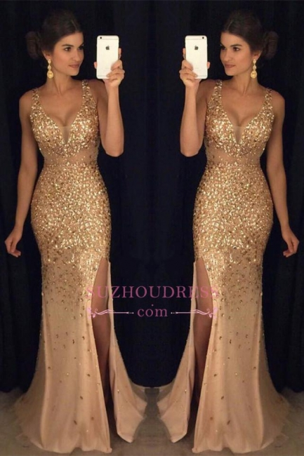 Gorgeous Mermaid Sleeveless Straps Front-Split Crystals Long Prom Dress GA091 SP0229