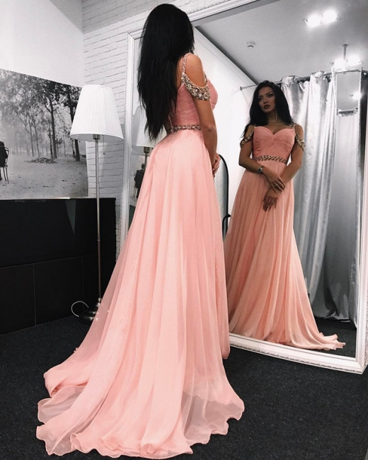 Gorgeous A-line Chiffon Prom Dresses  Spaghetti-Straps Crystal Evening Gowns