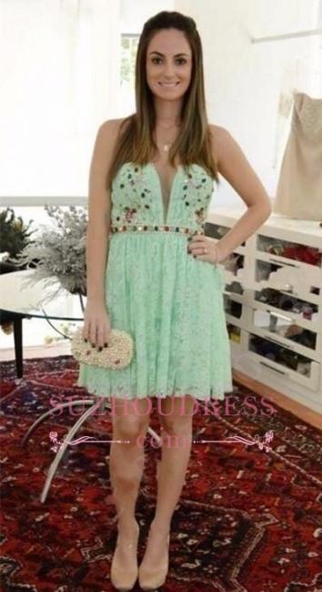 Sleeveless Mini Crystal Sweetheart Lace  Mint Homecoming Dresses