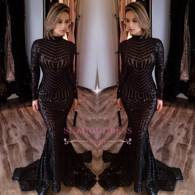 Sequined Mermaid Black Long Evenoing Dresses  Sleeves High Neck Sexy Prom Dress BA4035