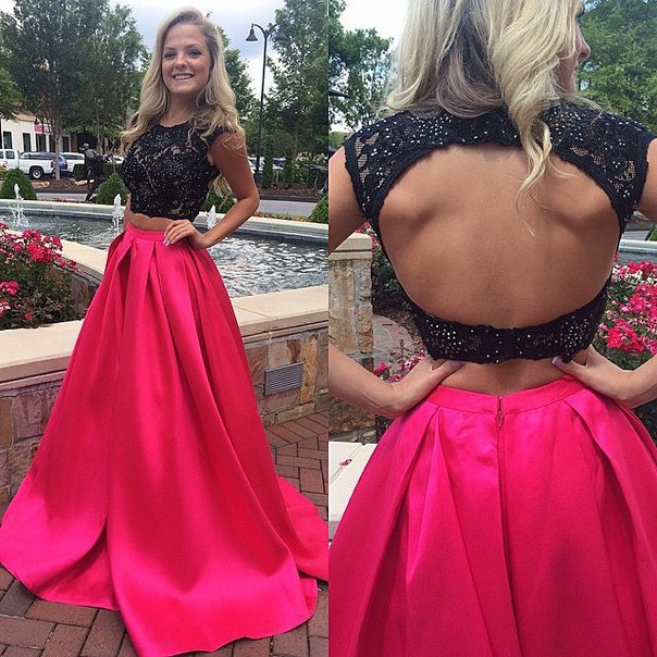 A-Line Halter Two Piece Prom Dress Black Lace Beading  Formal Occasion Dresses CE0164