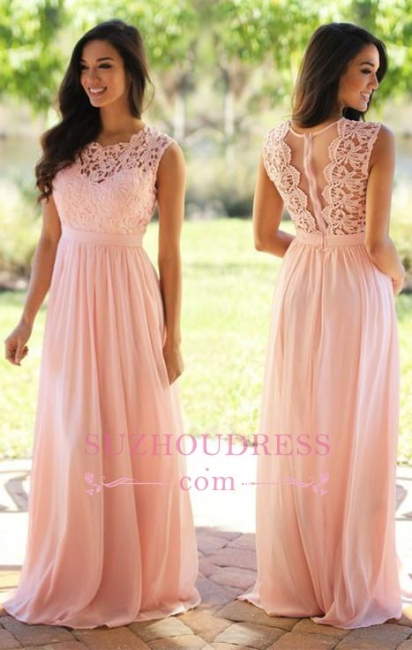 Chiffon Pink  Formal Dress Sleeveless Sheer Back Long Lace Evening Dress