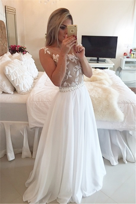 A-Line Chiffon White Long Prom Dress Latest Open Back Lace Formal Occasion Dresses BMT141