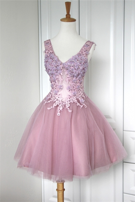 V-Neck Applique Beading Homecoming Dresses Tulle Tiered Mini  Cocktail Dresses