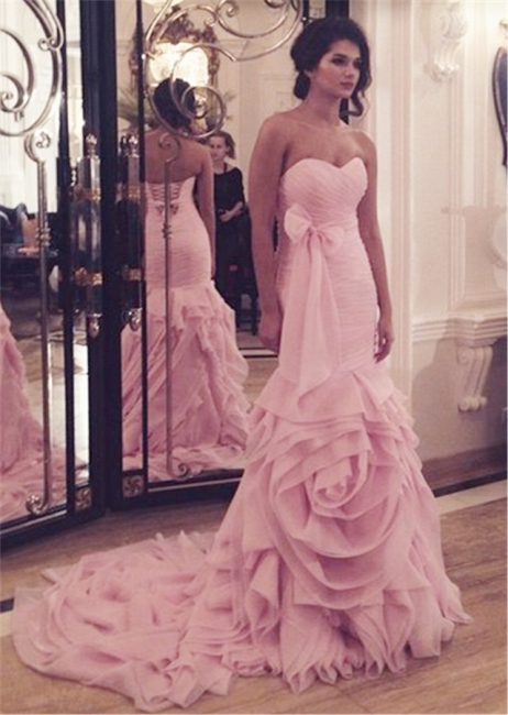 Sexy Mermaid Pink Long Wedding Dress Sweetheart Popular Plus Size Bridal Gowns with Bowknot