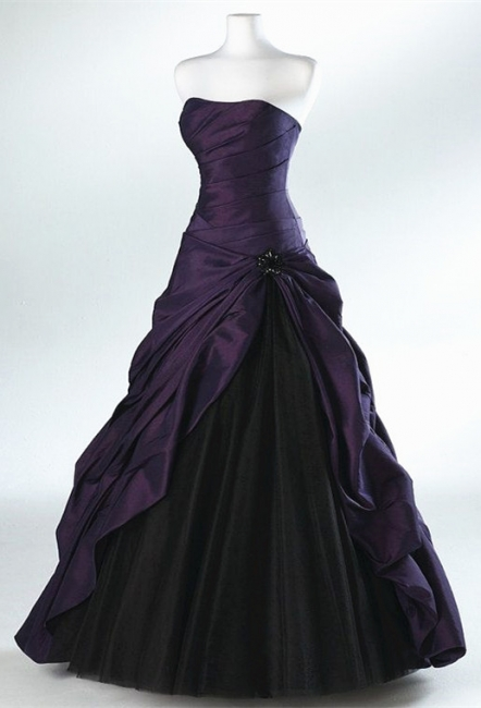 Purple Black Strapless  Popular Quinceanera Dresses Taffeta Ruffle Long Ball Gowns Party Dresses