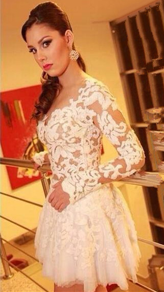 White Lace Long Sleeve Mini Homecoming Dress New Arrival Open Back Plus Size Cocktail Dress BO6414