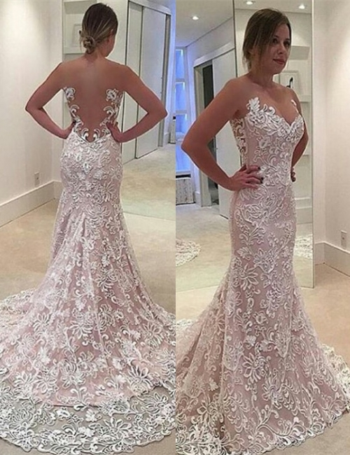 Court Train Hollow-out Lace Evening Dresses  Mermaid Sleeveless Sexy Prom Dress