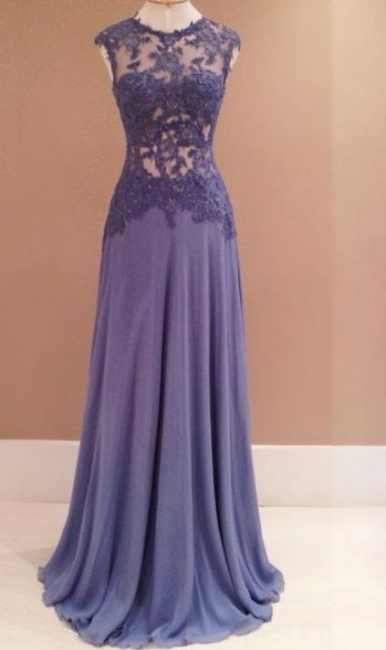 See Through Sleeveless Evening Dress Long  Prom Dress with Lace Appliques