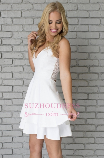 Cute Mini Spaghetti Strap Sleeveless White Lace Homecoming Dress  BA6828