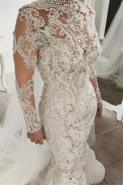 Alluring Beading Wedding Dresses With Buttons Mermaid Long-Sleeves Lace High Neck Crystal Bridal Gowns On Sale