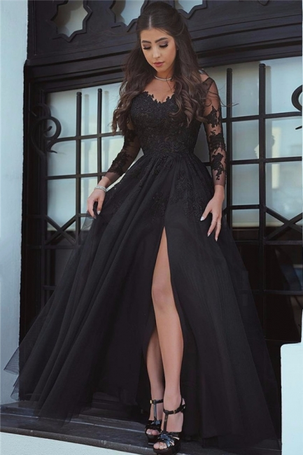 Long Sleeve Lace Appliques Evening Dress Front Slit  Formal Dress FB0030