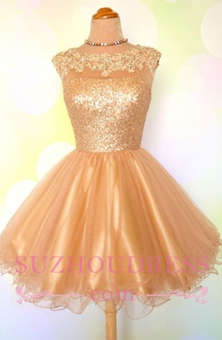 Puffy Shiny Gold Cocktail Dress Appliques Sequins Short Homecoming Dresses  BA8553