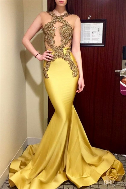 Sexy Mermaid Sleeveless Prom Dresses  Appliques Jewel Sweep Train Evening Gowns