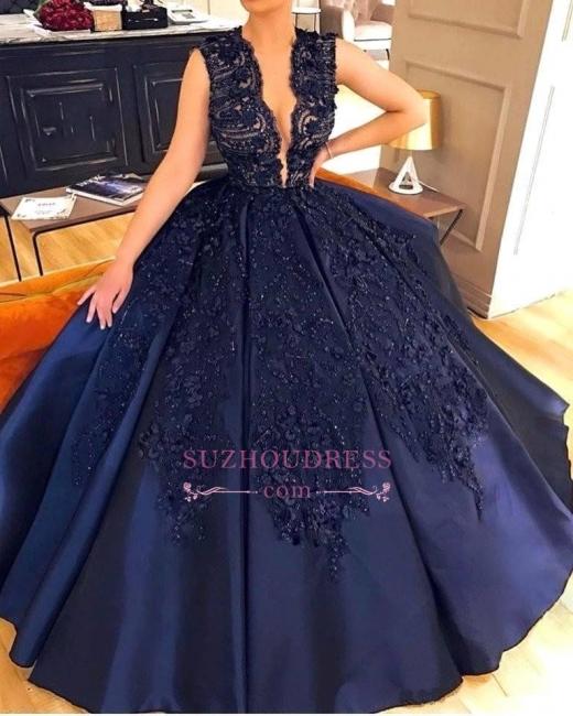 Elegant Dark-Navy Sleeveless Evening Dress |  Appliques Ball Prom Dress with beadings