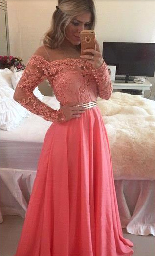 Cute Pink Long Sleeve Lace Beading Prom Dress  New Arrival Chiffon Long Dress for Women