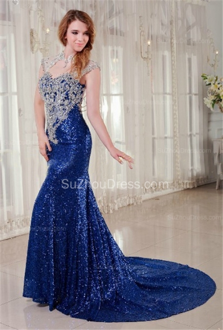 Royal Blue Prom Dresses  Queen Anne Sequined Appliques Beading Court Train A Line Formal Evening Gowns