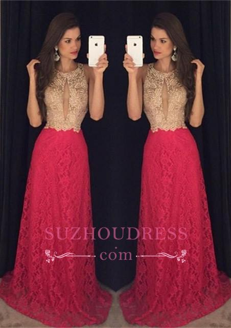Long Jewel Sleeveless Hot Pink Evening Gown  Sweep-Train Newest Lace Prom Dress GA090