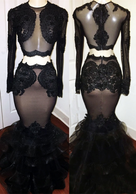 Sexy Nude Inner Lining Black Prom Dress  | Mermaid Lace Puffy Bottom Graduation Dresses