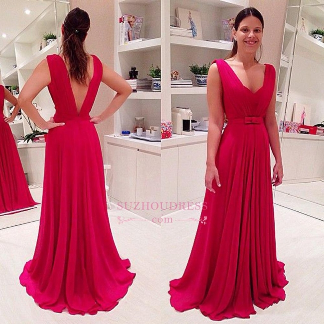 Long Chiffon Red Evening Dresses  Bowknot Sleeveless V-neck Prom Dresses