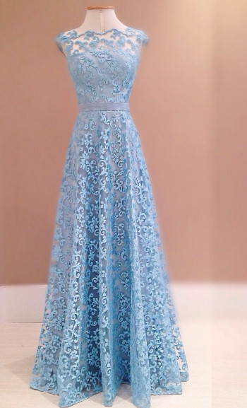 Blue Lace A-Line Backless Evening Dress  New Style  Prom Dress with Bowknot Sash