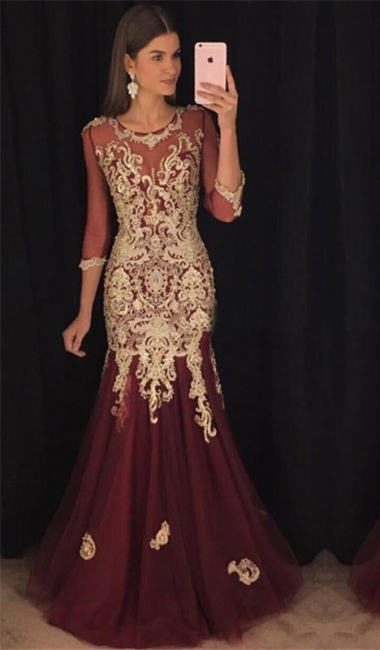 Long Sleeve Burgundy Tulle Evening Dress with Gold Lace Appliques Mermaid Prom Dress Sexy
