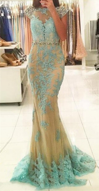 Sexy Backless Cap Sleeves  Prom Dresses Lace Sheath Champagne Tulle Sexy Evening Gown