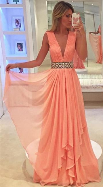 Deep V-neck Coral Chiffon Formal Evening Dresses  Beaded Belt Prom Dress