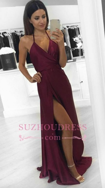 Side Slit Sleeveless V-neck Burgundy Evening Gowns Sexy Halter Long Evening Dresses  BA3834