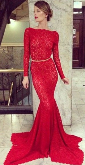 New Arrival Red Lace Prom Dresses Long Sleeve Backless Mermaid Bateau Court Train Evening Gowns