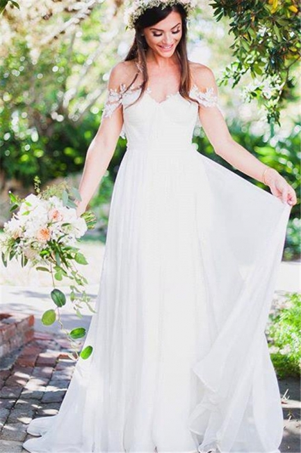 Off The Shoulder Lace Sweetheart Beach Wedding Dress   Chiffon Summer Outdoor Bridal Gowns BA3769