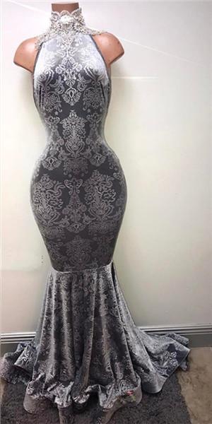 Lace High Neck Mermaid Prom Dresses   Sleeveless Floor Length Evening Dresses BA8233