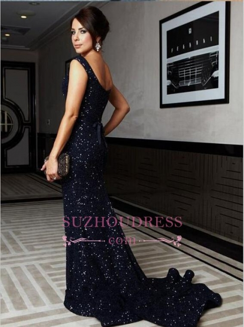 Sweep Train Cap Sleeve Bow Gorgeous Mermaid Sequined Prom Dress