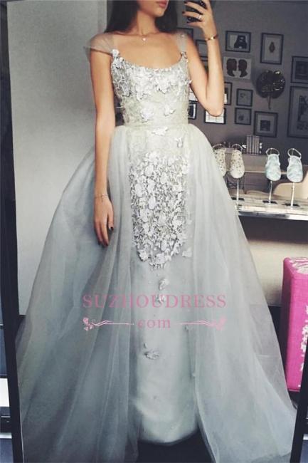 Elegant A-Line Scoop Tulle Cap-Sleeves Appliques Prom Dress