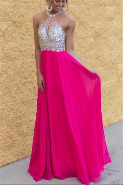 Sexy Crystal Halter Chiffon Evening Dress Latest Sleeveless Long Popular Prom Dress BA3430