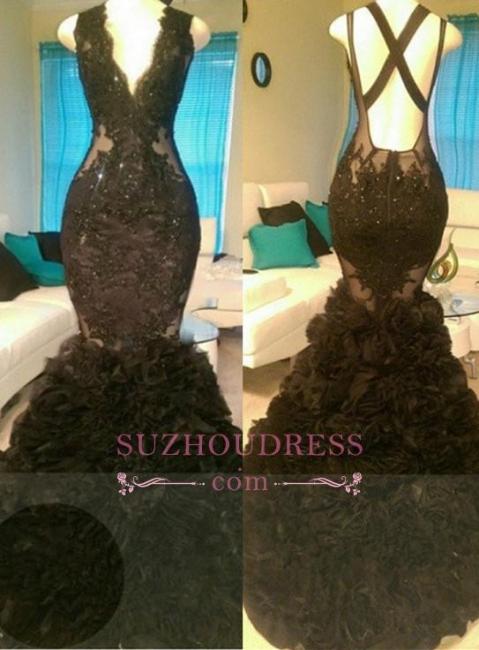 Appliques V-Neck  Tulle Glamorous Black Mermaid Open-Back Prom Dress