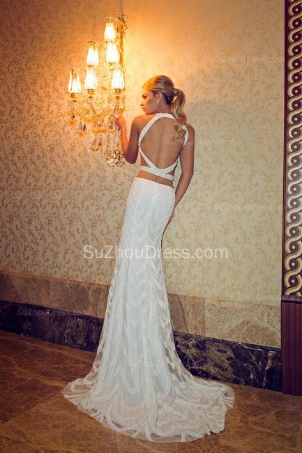 Halter Crystals Beadings Wedding Dresses  Mermaid Sweep Train Open Back Bridal Gowns SZSM236